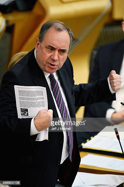 First Minister of Scotland Alex Salmond takes First Minister's Questions at the Scottish Parliament on October 2 2014 in Edinburgh Scotland Later...