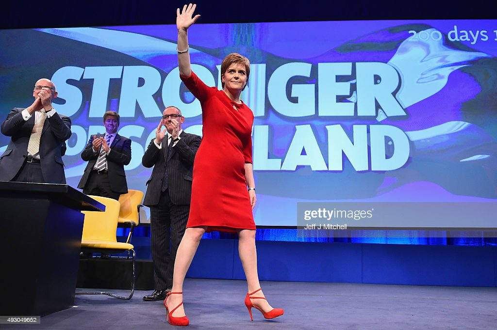 First Minister of Scotland Nicola Sturgeon acknowledges applause following her keynote speech at the 81st annual SNP conference at the Aberdeen Exhibition and Conference Centre on October 17, 2015 in Aberdeen, Scotland. During her address to delegates, Nicola Sturgeon announced a pledge to build a new network of NHS treatment centres and more financial support for carers if the SNP wins next year's Holyrood elections.