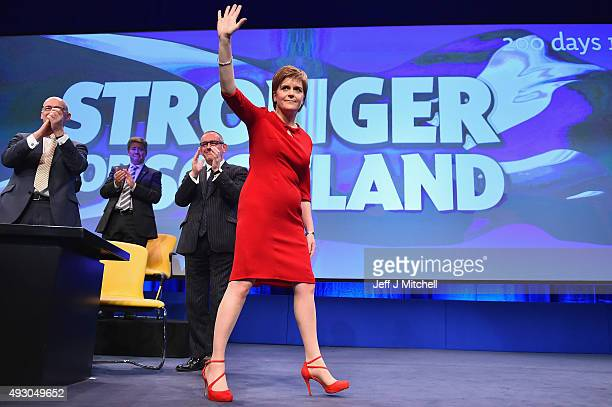 First Minister of Scotland Nicola Sturgeon acknowledges applause following her keynote speech at the 81st annual SNP conference at the Aberdeen...