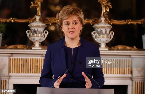 First Minister of Scotland Nicola Sturgeon addresses journalists on June 9 2017 in Edinburgh Scotland After a snap election was called by Prime...