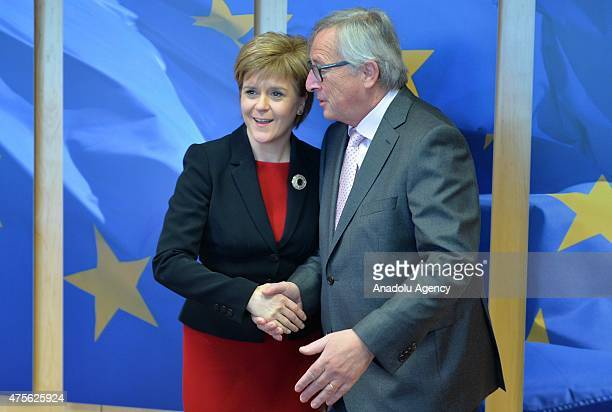 First Minister of Scotland Nicola Sturgeon and European Comission President JeanCloude Juncker meet in Brussels Belgium on June 2 2015