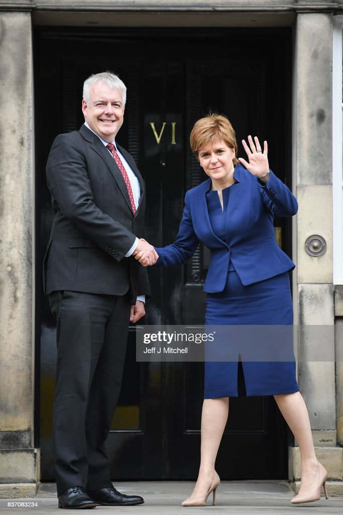 First Minister of Scotland Nicola Sturgeon and First Minister of Wales Carwyn Jones meet at Bute House on August 22, 2017 in Edinburgh,Scotland. The two First Ministers met in Edinburgh to discuss how the two Governments can work together to protect devolution.