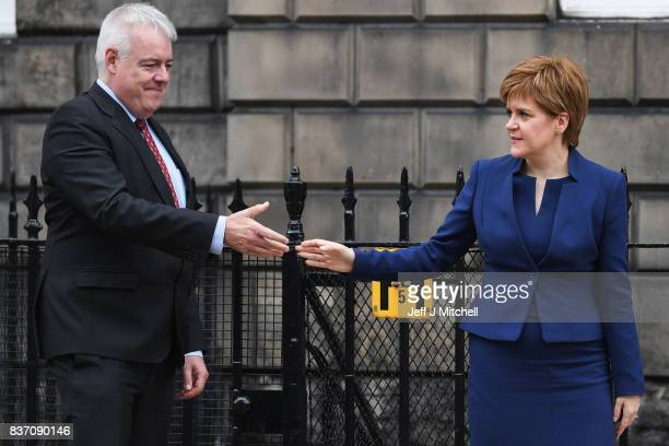 First Minister of Scotland Nicola Sturgeon and First Minister of Wales Carwyn Jones meet at Bute House on August 22 2017 in EdinburghScotland The two...