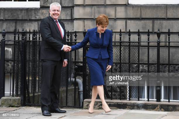 First Minister of Scotland Nicola Sturgeon and First Minister of Wales Carwyn Jones meetÊat Bute House on August 22 2017 in EdinburghScotland The two...