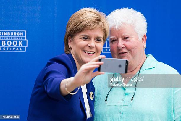 First Minister of Scotland Nicola Sturgeon and Scottish crime writer Val McDermid attend a photocall at Edinburgh International Book Festival on...