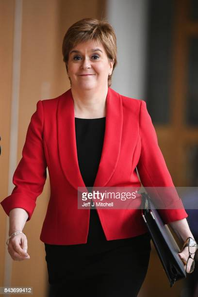 First Minister of Scotland Nicola Sturgeon arrives for first ministers questions in the Scottish Parliamnet on September 7 2017 in Edinburgh Scotland