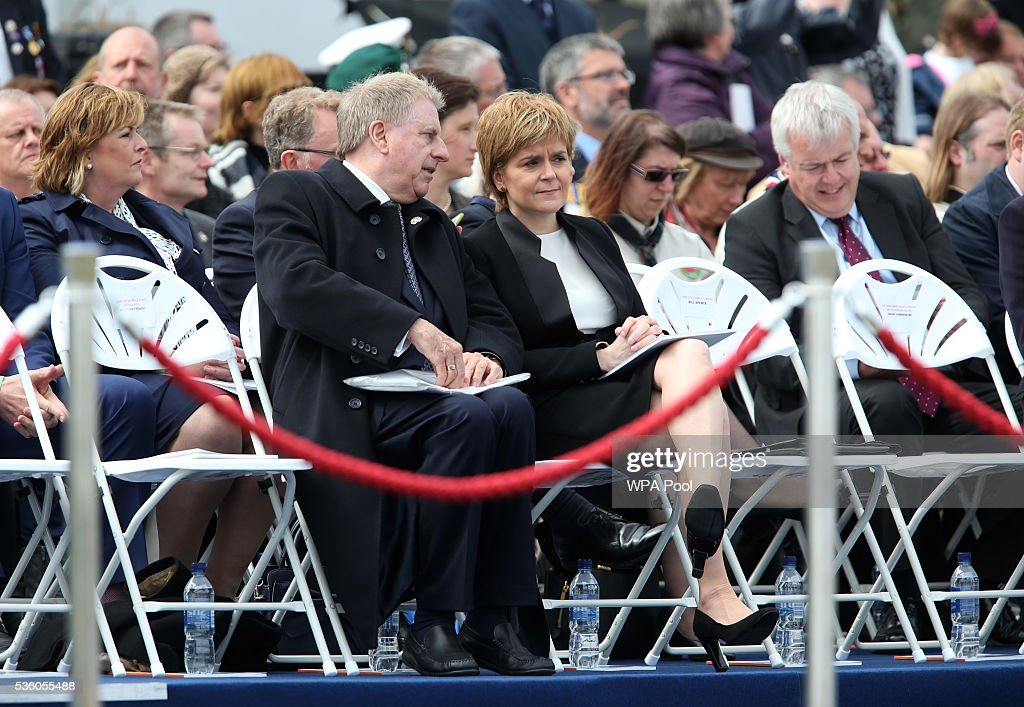 First Minister of Scotland Nicola Sturgeon attends a service at Lyness Cemetery during the 100th anniversary commemorations for the Battle of Jutland on May 31, 2016 in Hoy, Scotland. The event marks the centenary of the largest naval battle of World War One where more than 6,000 Britons and 2,500 Germans died in the Battle of Jutland fought near the coast of Denmark on 31 May and 1 June 1916.