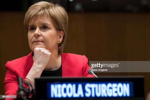 First Minister of Scotland Nicola Sturgeon attends an event concerning the support of women in conflict at UN headquarters April 5 2017 in New York...