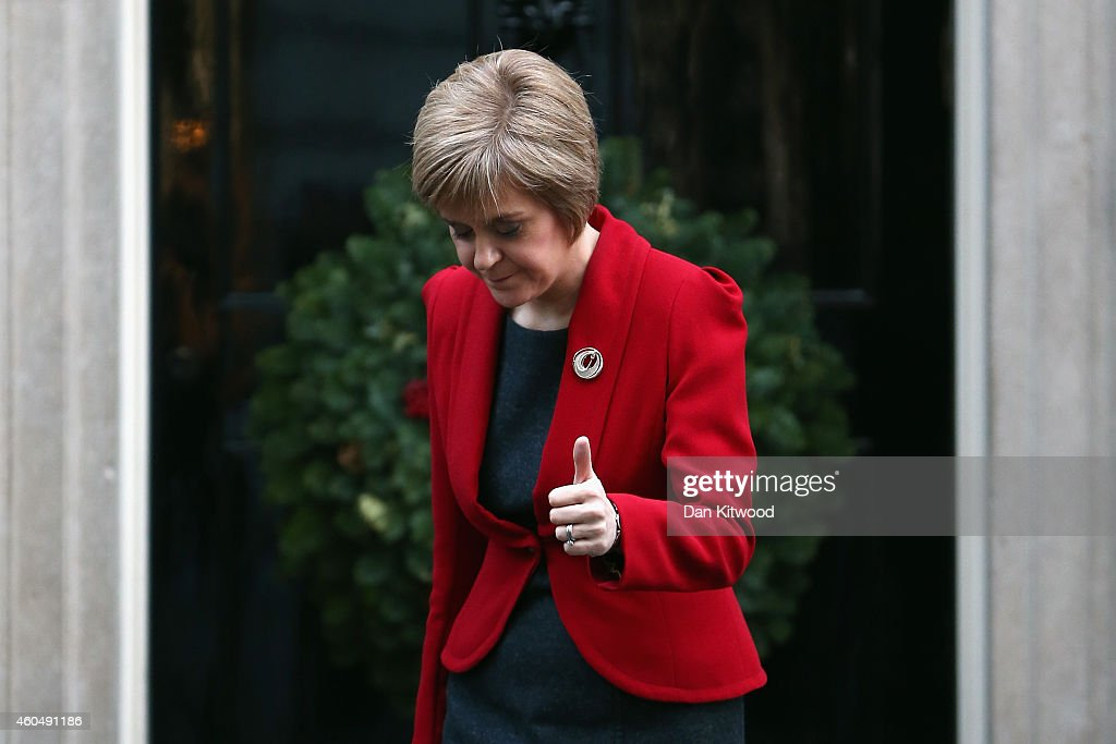 First Minister of Scotland Nicola Sturgeon leaves 10 Downing Street on December 15, 2014 in London, England. Nicola Sturgeon met with British Prime Minister David Cameron on her first visit to 10 Downing Street since becoming First Minister.