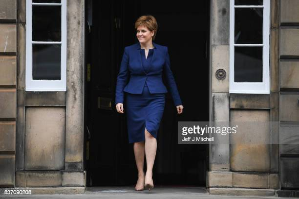 First Minister of Scotland Nicola Sturgeon makes her way to meet First Minister of Wales Carwyn Jones at Bute House on August 22 2017 in...