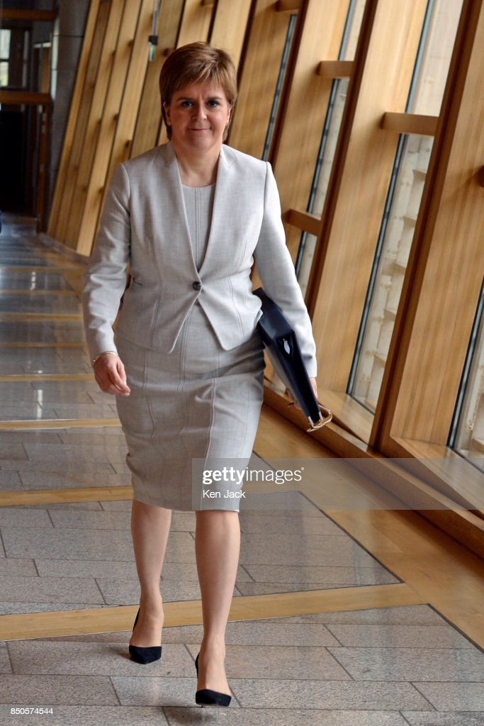 First Minister of Scotland , Nicola Sturgeon on her way to First Minister's Questions in the Scottish Parliament, on September 21, 2017 in Edinburgh, Scotland.