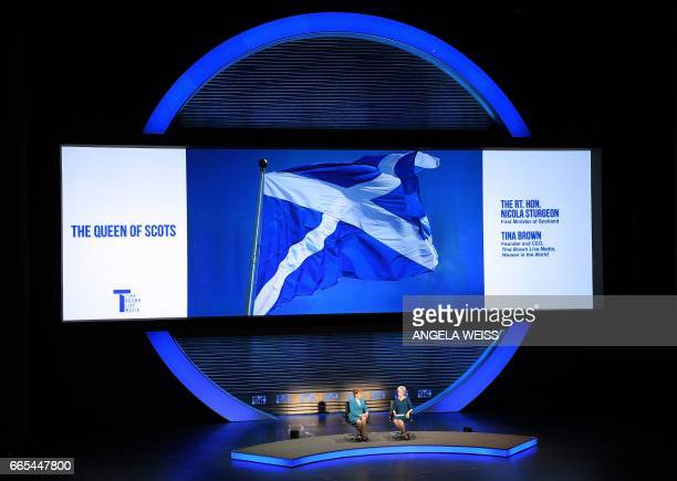 First Minister of Scotland Nicola Sturgeon speaks during an interview with journalist Tina Brown at the Eighth Annual Women In The World Summit at...