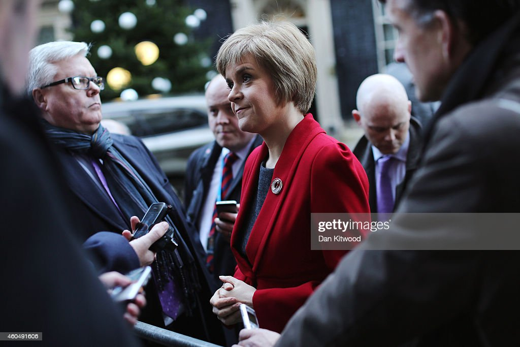 First Minister of Scotland Nicola Sturgeon speaks to reporters outside 10 Downing Street on December 15, 2014 in London, England. Nicola Sturgeon met with British Prime Minister David Cameron on her first visit to 10 Downing Street since becoming First Minister.