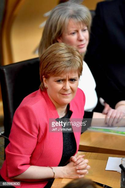 First Minister of Scotland Nicola Sturgeon takes questions at First Minister's Questions inside the Scottish Parliament on March 16 2017 in Edinburgh...