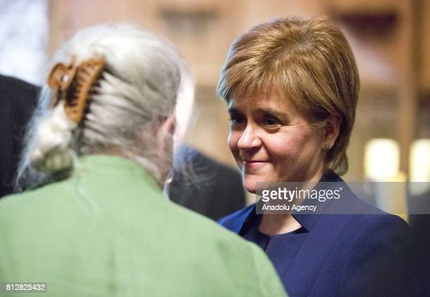 First Minister of Scotland Nicola Sturgeon talks with President of the Association of the Mothers of Srebrenica and Zepa Enclaves Munira Subasic...