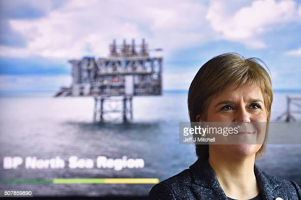 First Minister of Scotland Nicola Sturgeon visits BP headquarters on February 1 2016 in Aberdeen Scotland A new twelve million pound fund is being...