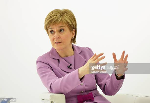 First Minister of Scotland Nicola Sturgeon visits Glasgow Caledonian University New York on June 8 2015 in New York City
