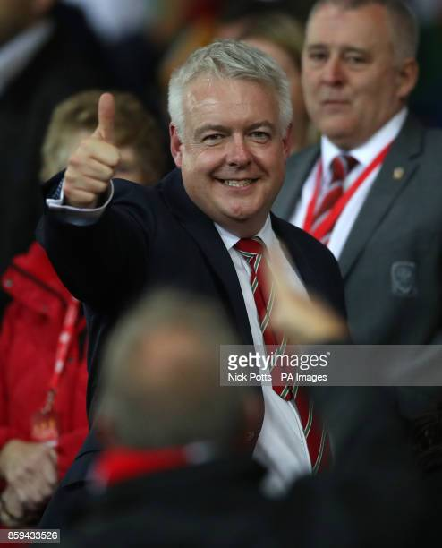 First Minister of Wales Carwyn Howell Jones before the 2018 FIFA World Cup Qualifying Group D match at the Cardiff City Stadium Cardiff