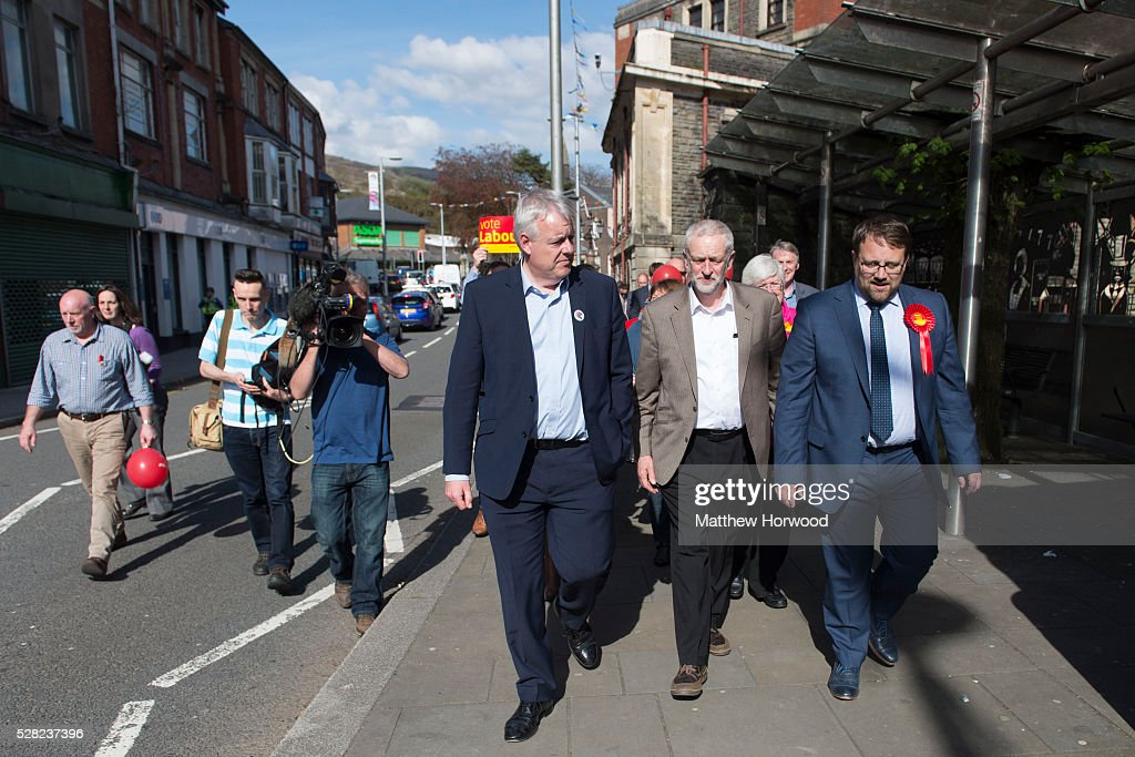 First Minister of Wales Carwyn Jones, Leader of the Labour Party <a gi-track='captionPersonalityLinkClicked' href=/galleries/search?phrase=Jeremy+Corbyn&family=editorial&specificpeople=2596361 ng-click='$event.stopPropagation()'>Jeremy Corbyn</a> and by-election candidate for Ogmore Chris Elmore (L-R) walk through the streets during a visit to Maesteg on May 4, 2016 in Bridgend, Wales. Tomorrow the UK will go to the polls to vote for assembly members, councillors, mayors and police commissioners.