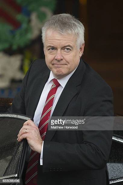 First Minister of Wales Carwyn Jones leaves a meeting with the joint ministerial committee at City Hall on January 30 2017 in Cardiff Wales The joint...