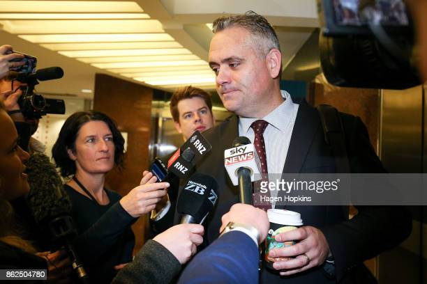 First MP Fletcher Tabuteau arrives as coalition discussions continue at Parliament on October 18 2017 in Wellington New Zealand Neither the National...