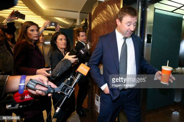 First MP Mark Patterson arrives as coalition discussions continue at Parliament on October 18 2017 in Wellington New Zealand Neither the National nor...