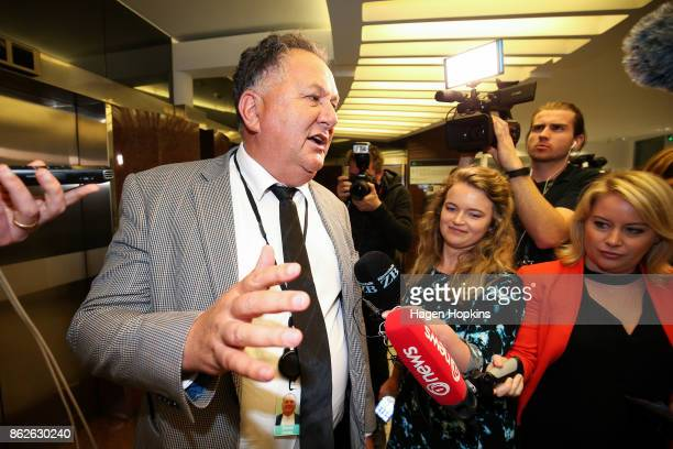 First MP Shane Jones speaks to media as coalition discussions continue at Parliament on October 18 2017 in Wellington New Zealand Neither the...