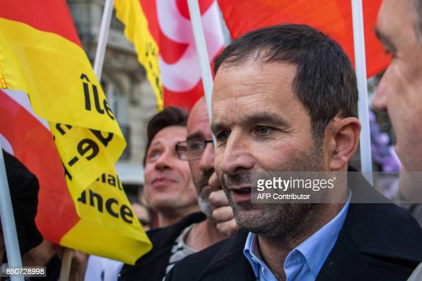 'First of July movement' left wing movement leader Benoit Hamon attends a rally to protest the French government's proposed reforms in labour laws on...