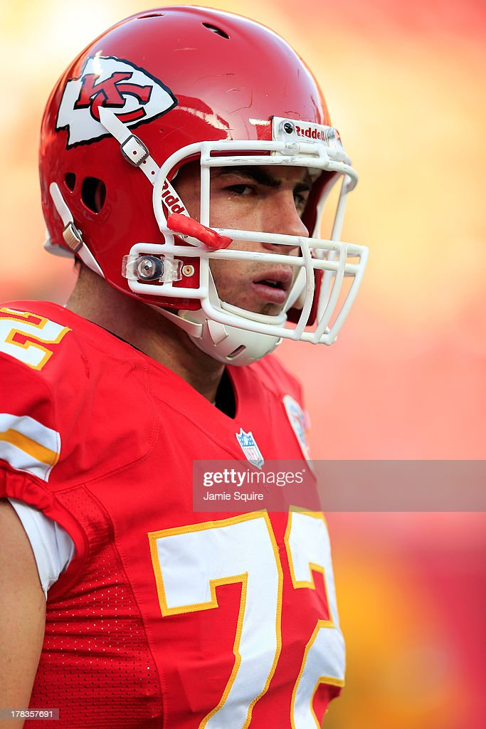 First overall draft pick and offensive tackle Eric Fisher #72 of the Kansas City Chiefs warms up prior to the preseason game against the Green Bay Packers at Arrowhead Stadium on August 29, 2013 in Kansas City, Missouri.