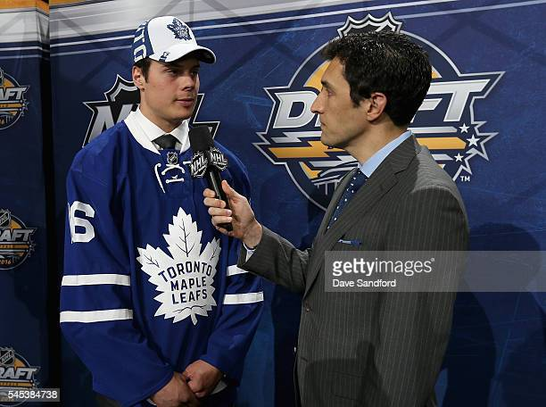 First overall draft pick Auston Matthews of the Toronto Maple Leafs speaks to Steve Mears of the NHL Network during round one of the 2016 NHL Draft...