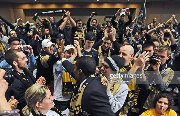 First overall draft pick Danny Mwanga of the Philadelphia Union greets the fans during the 2010 MLS SuperDraft on January 14 2010 at the Pennsylvania...