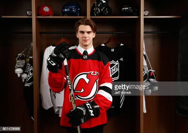 First overall draft pick Nico Hischier of the New Jersey Devils poses for a portrait during Round One of the 2017 NHL Draft at United Center on June...