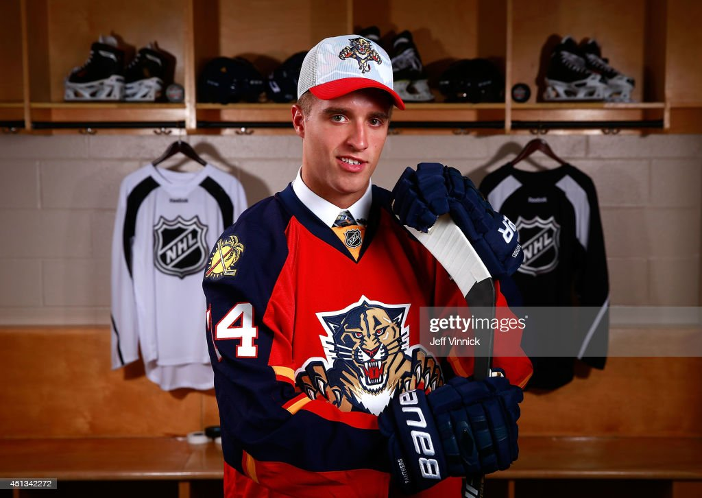 First overall pick Aaron Ekblad of the Florida Panthers poses for a portrait during the 2014 NHL Entry Draft at Wells Fargo Center on June 27, 2014 in Philadelphia, Pennsylvania.