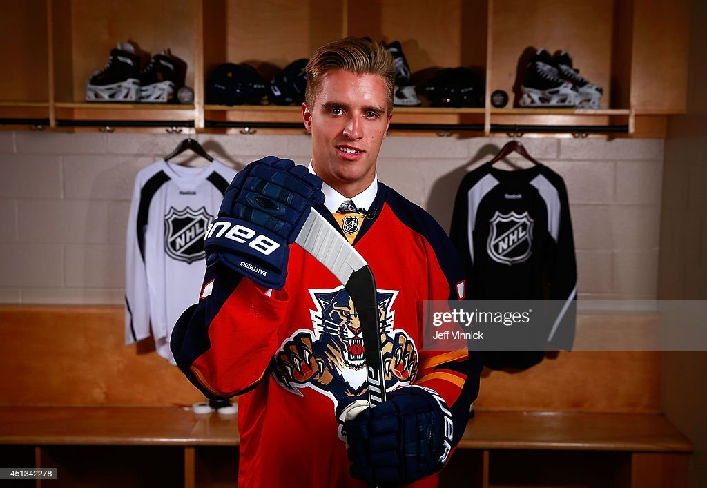 First overall pick <a gi-track='captionPersonalityLinkClicked' href=/galleries/search?phrase=Aaron+Ekblad&family=editorial&specificpeople=8953211 ng-click='$event.stopPropagation()'>Aaron Ekblad</a> of the Florida Panthers poses for a portrait during the 2014 NHL Entry Draft at Wells Fargo Center on June 27, 2014 in Philadelphia, Pennsylvania.