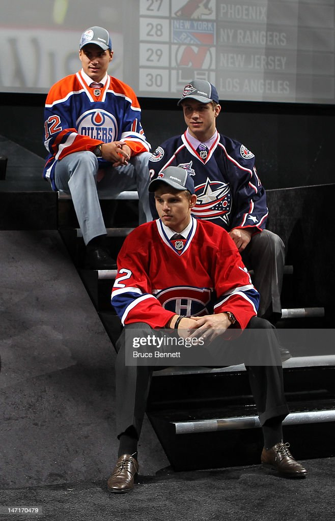First overall pick by the Edmonton Oilers Nail Yakupov, second overall pick by the Columbus Blue Jackets Ryan Murray and third overall pick by the Montreal Canadiens Alex Galchenyuk pose during Round One of the 2012 NHL Entry Draft at Consol Energy Center on June 22, 2012 in Pittsburgh, Pennsylvania.
