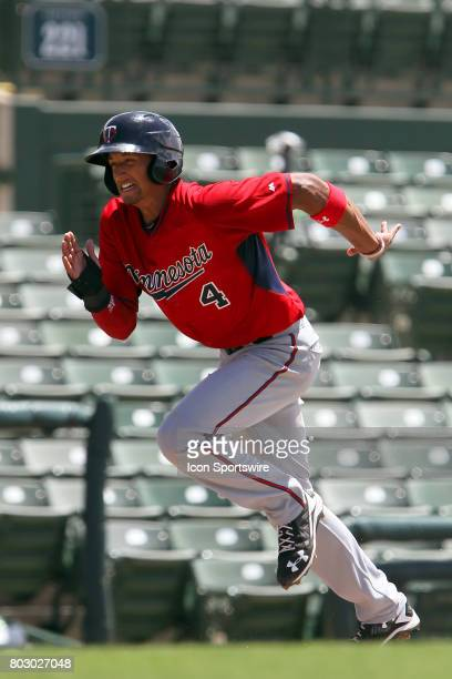 2017 first overall pick in the Major League Baseball Amateur Draft Royce Lewis of the Twins leads off third and then hustles home to score a run...