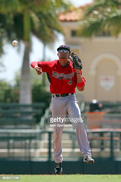 2017 first overall pick in the Major League Baseball Amateur Draft Royce Lewis of the Twins makes a throw over to first base for the out during the...