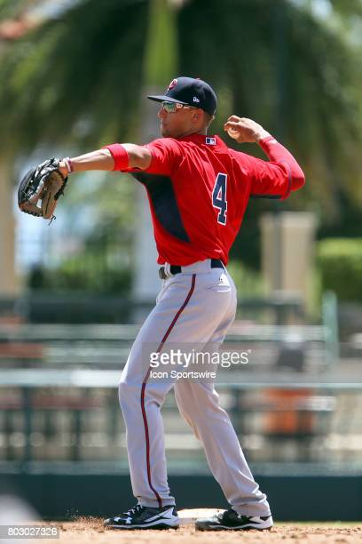2017 first overall pick in the Major League Baseball Amateur Draft Royce Lewis of the Twins throws the ball back to the pitcher during the Gulf Coast...