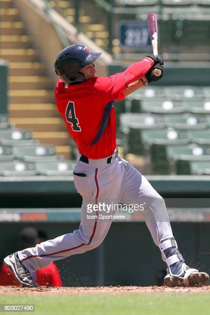 2017 first overall pick in the Major League Baseball Amateur Draft Royce Lewis of the Twins at bat during the Gulf Coast League game between the...