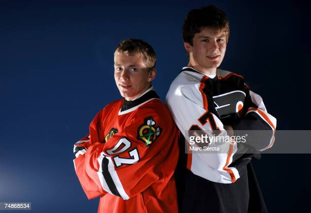 First overall pick Patrick Kane of the Chicago Blackhawks and second overall pick James vanRiemsdyk of the Philadelphia FLyers pose together during...