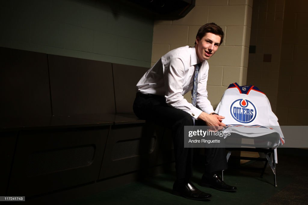 First overall pick Ryan Nugent-Hopkins of the Edmonton Oilers sits for a photo portrait during day one of the 2011 NHL Entry Draft at Xcel Energy Center on June 24, 2011 in St Paul, Minnesota.