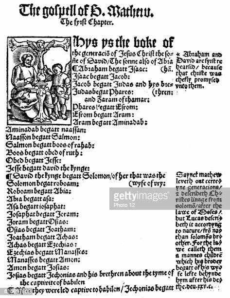 First page of St Matthew's Gospel from William Tyndale's English 'New Testament' printed Cologne 1525