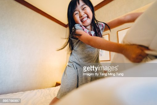 First person view dad pillow fight with daughter