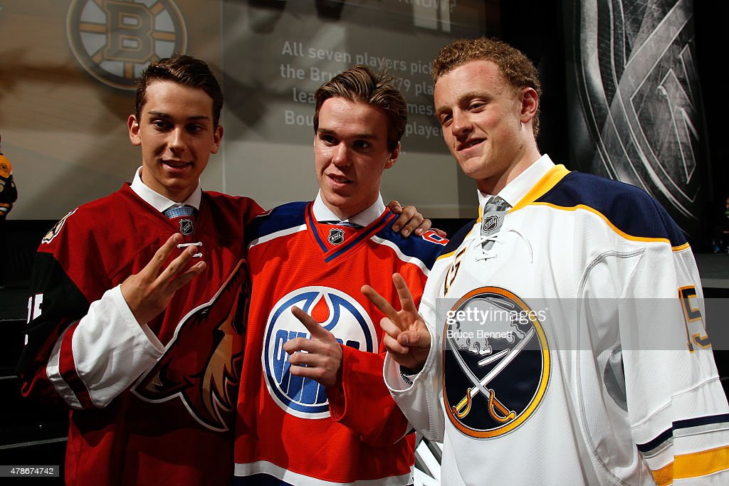 First pick Connor McDavid (C) of the Edmonton Oilers, second pick Jack Eichel (R) of the Buffalo Sabres and third pick Dylan Strome (L) of the Arizona Coyotes poses during the first round of the 2015 NHL Draft at BB&T Center on June 26, 2015 in Sunrise, Florida.