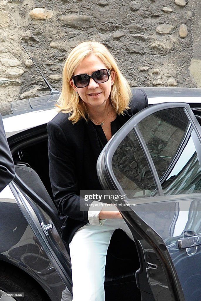 First pictures of Princess Cristina after her brother King Felipe VI revokes her title as Duchess of Palma on June 12 2015 in Geneva Switzerland