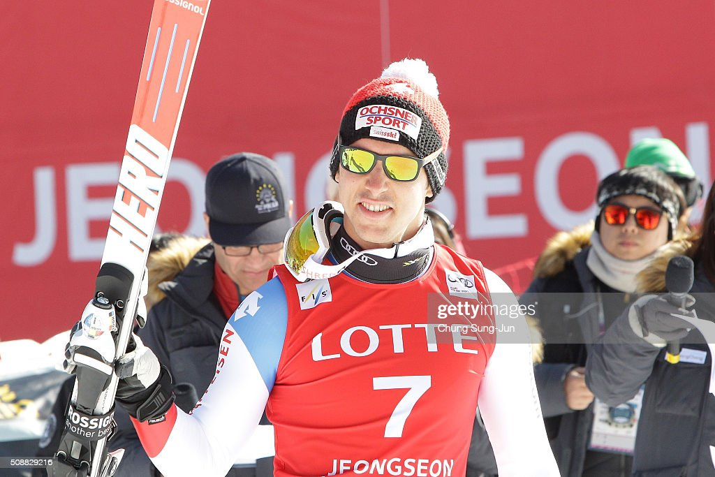 First place finisher <a gi-track='captionPersonalityLinkClicked' href=/galleries/search?phrase=Carlo+Janka&family=editorial&specificpeople=5622589 ng-click='$event.stopPropagation()'>Carlo Janka</a> of Switzerland celebrates after winning the during the Men's Super G Finals during the 2016 Audi FIS Ski World Cup at the Jeongseon Alpine Centre on February 7, 2016 in Jeongseon-gun, South Korea.