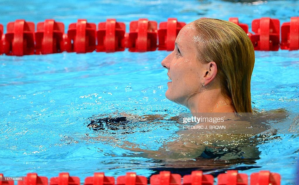 First place finisher Jessica Hardy turns to watch the screen following the women's 50M Freestyle final on the last day of the 2012 US Olympic Team Trials on July 2, 2012 in Omaha, Nebraska. AFP PHOTO/Frederic J. BROWN