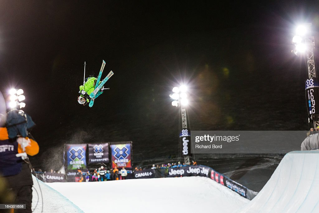First place Marie Martinod performs during the Woman's Ski Superpipe final during day five of Winter X Games Europe 2013 on March 22, 2013 in Tignes, France.