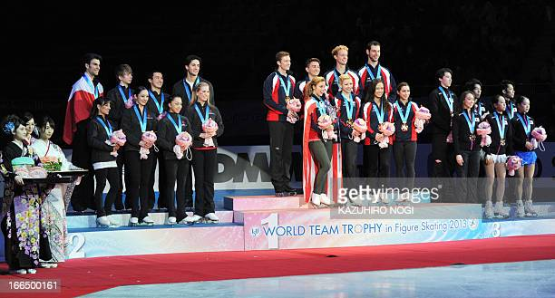 First place US team second place Canada team and third place Japan team attend the awards ceremony at the World Team Trophy figure skating...