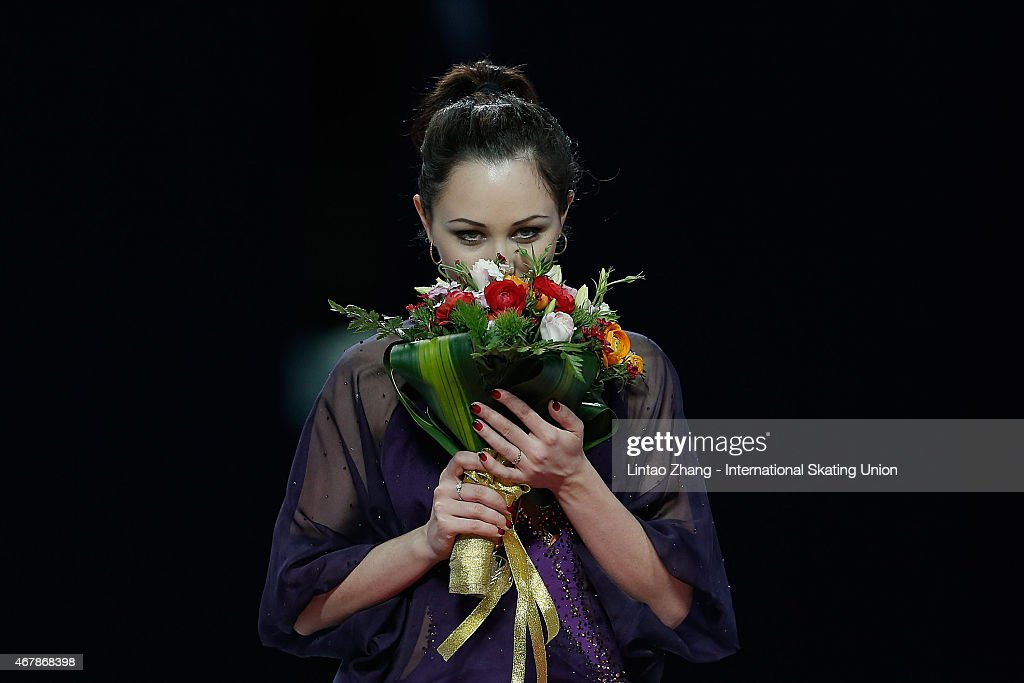 First place winner Elizaveta Tuktamysheva of Russia pose on the podium after the medals ceremony of the Ice DanceLadies Free Skating on day four of...